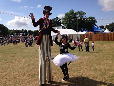 Mad hatter on stilts