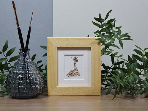 Mini Giraffe Art Print - Framed