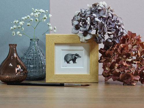 Mini Badger Art Print - Framed