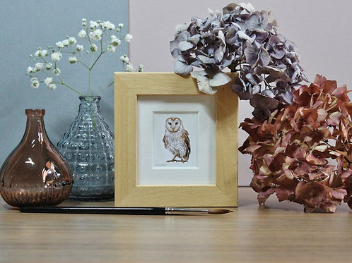 Mini Barn Owl Art Print - Framed