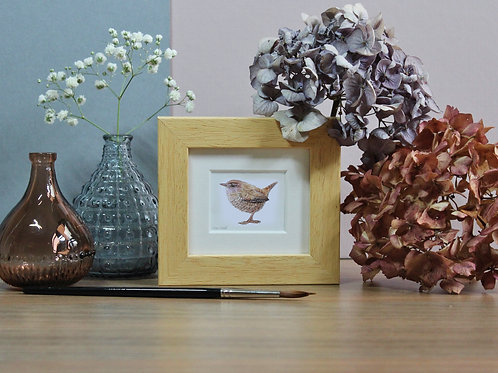 Mini Wren Art Print - Framed