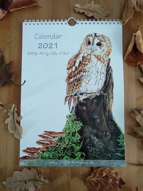 2021 British Wildlife Art A4 Wall Calendar