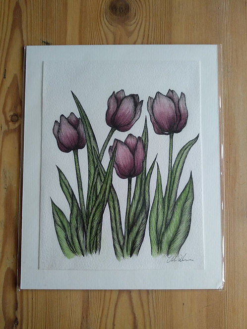 Original - 10x8 Tulips in Pen/Watercolour