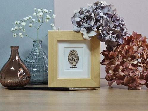 Mini Little Owl Art Print - Framed
