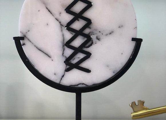 Deri bağcıklı mermer disk