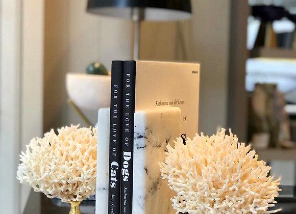 Coral Beyaz Mermer Kitaplık