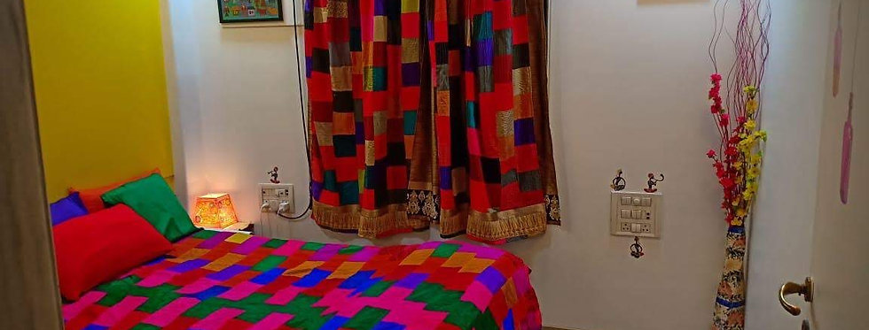 Multi Color Bedsheet with Fabric Patchwork Design