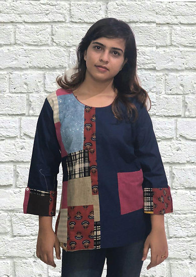 Full Sleeves Blue Tunic with Patch Work Design