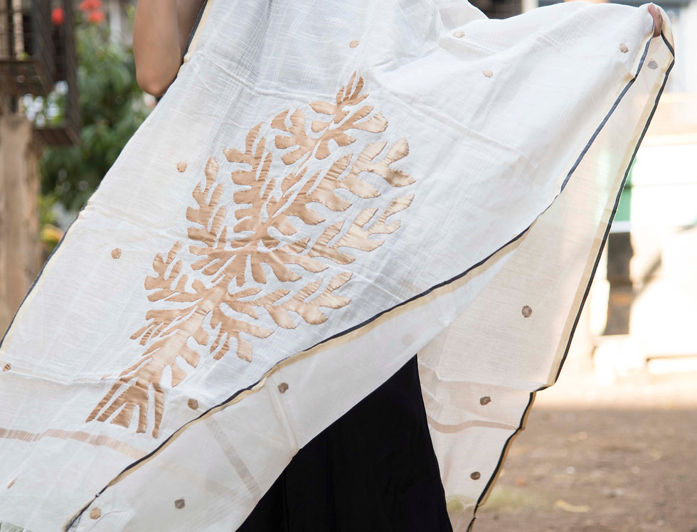 Golden Leaf Design Cream Color Chanderi Dupatta