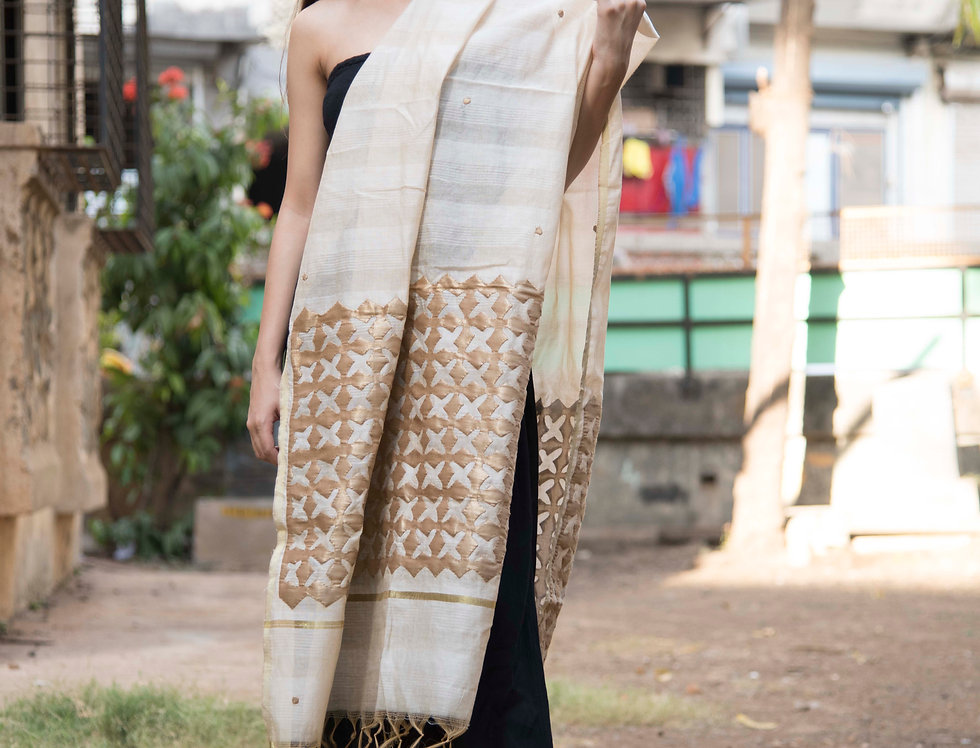 Full Handcraft Embroidered Chanderi Dupatta For Women