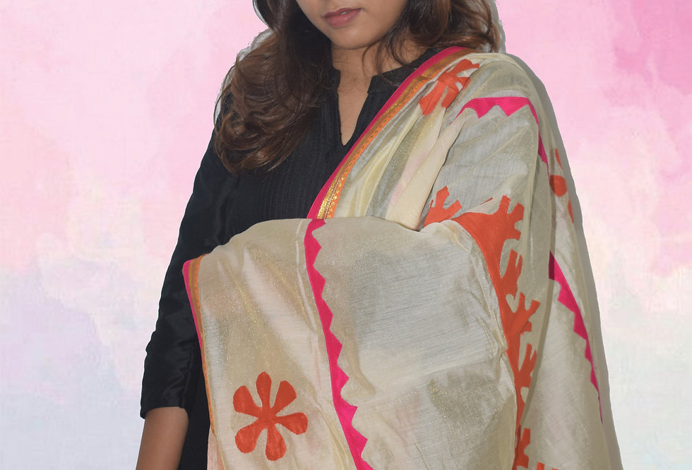 Chanderi Cream dupatta with Pink and Orange patchwork Design