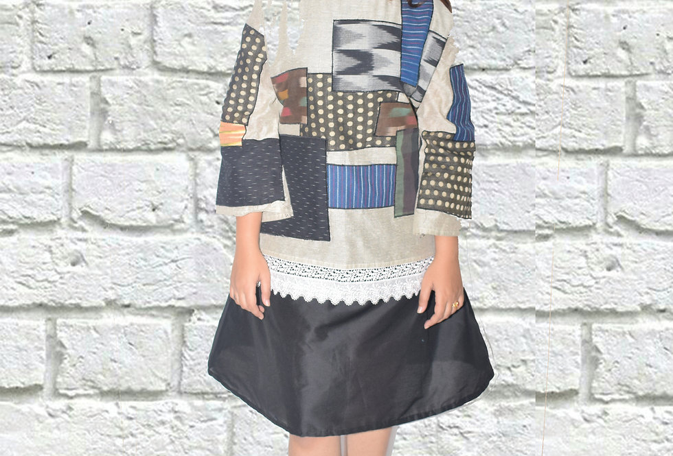Black & White A-Line Dress with Patch work Design