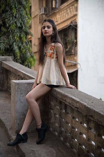 Boho style chanderi sleeveless top By Bunko Junko Off white