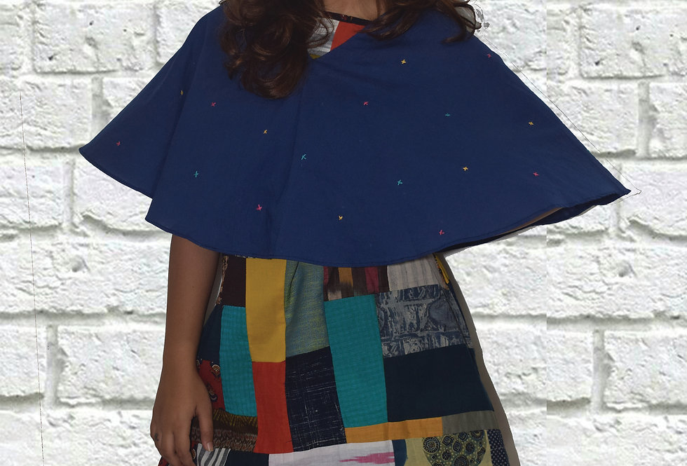 Blue Cape with Multicolor Patchwork Dress for women