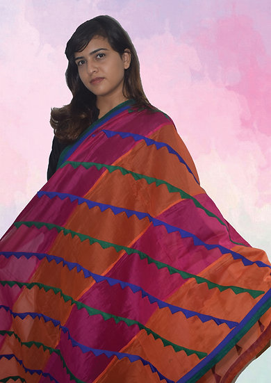 Pink & Orange Strip design Chanderi Dupatta with Patch design