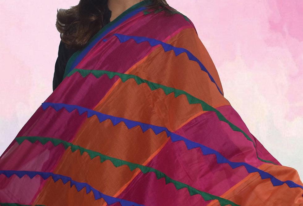 Pink & Orange Strip design Chanderi Dupatta with Patch design