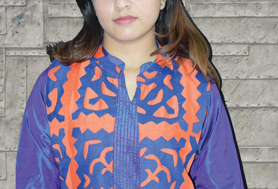 Blue & Orange mix Short Kurti Jacket for Women