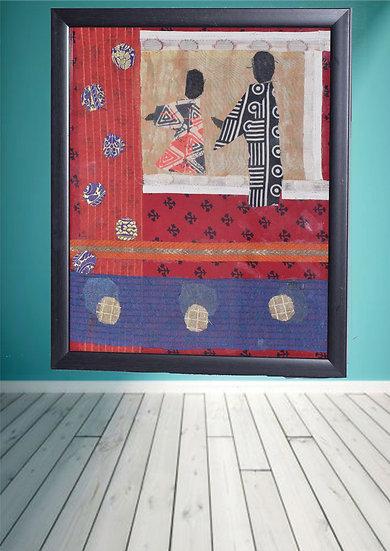 Kimono Fabric Design figure wall hanging frame online