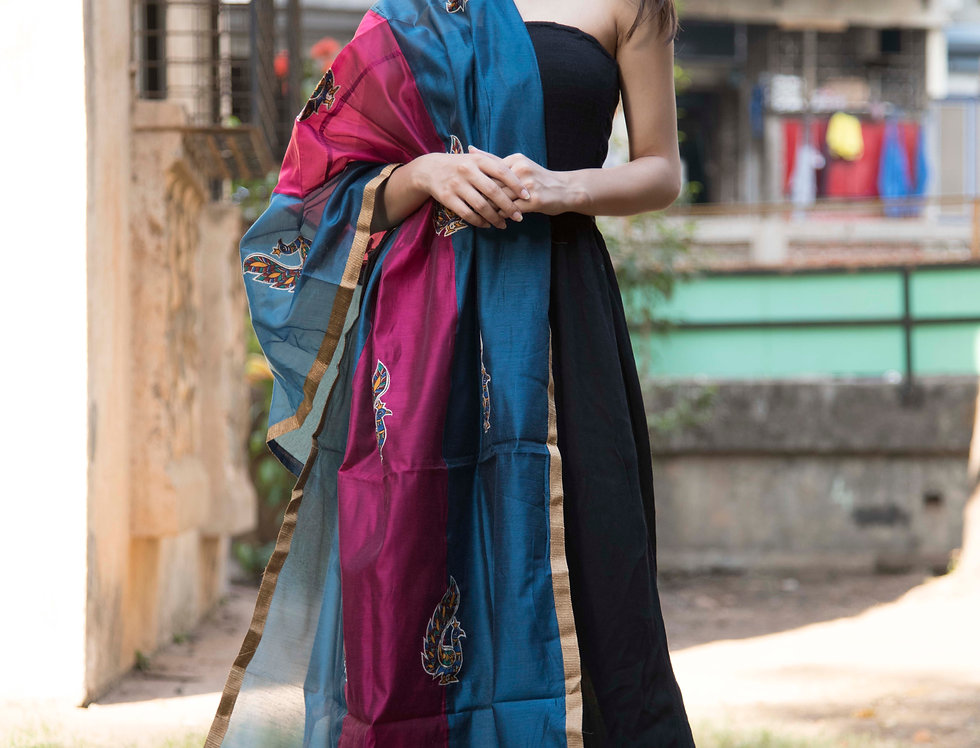 Blue & Pink Mix full embroidered Chanderi Dupatta