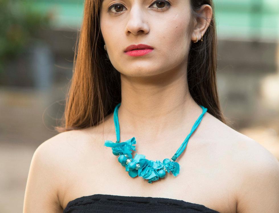 Spring Blue Neckpiece for Women with Beads & Tassel