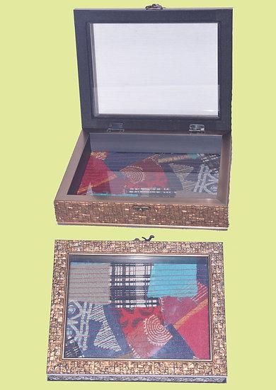 Multi colour Fabric patch decorative box