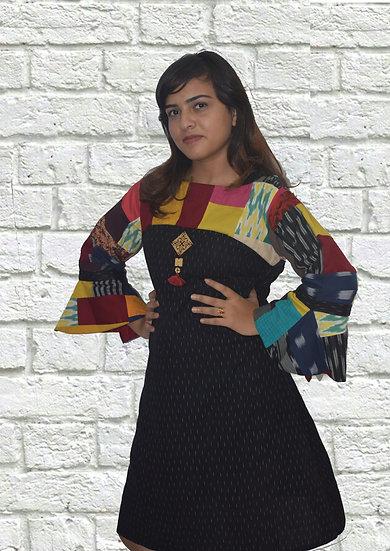 Full Sleeves Black Ikat Patch Work Dress