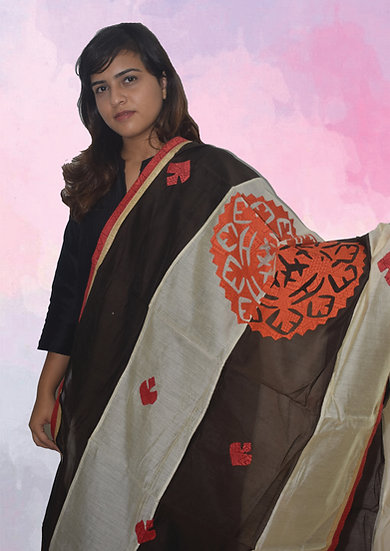Black & Grey Mix Chanderi Dupatta  Red Patch work Design