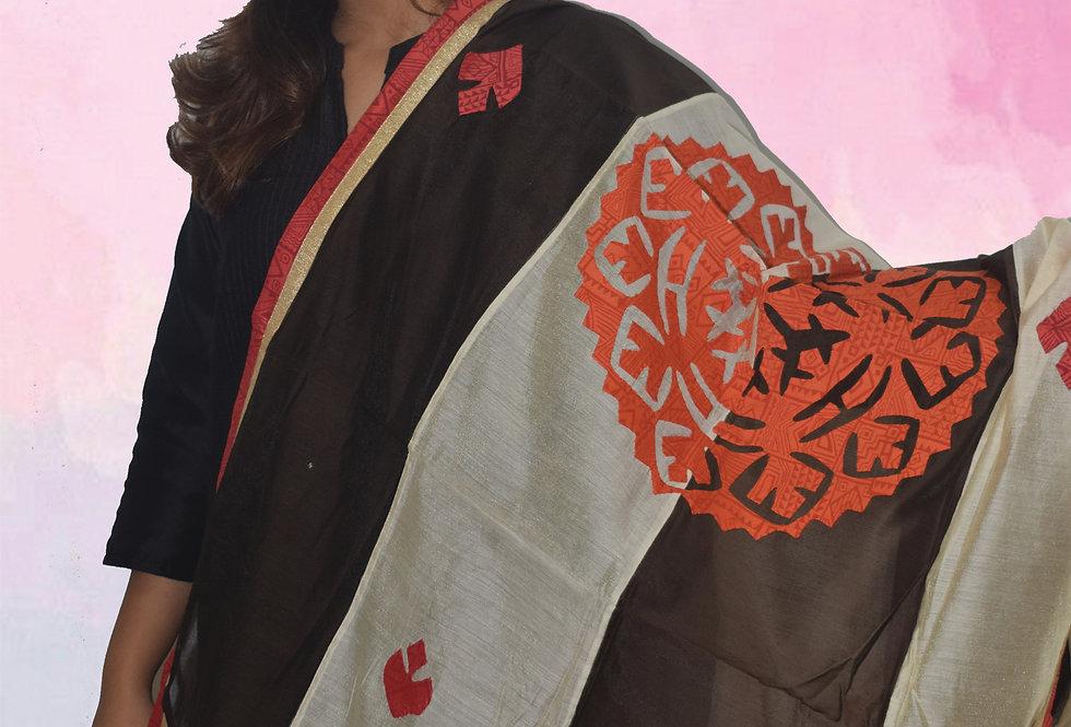 Black & Grey Mix Chanderi Dupatta  Red Patch work Design