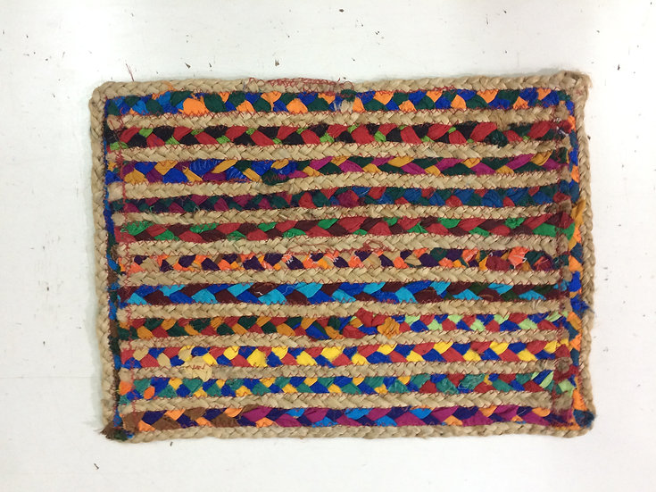 Multicolor Fabric Table Mat Braided Rug Design bunko junko