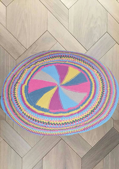 buy Multi Color Circular Rug with fabric Handwork Design online