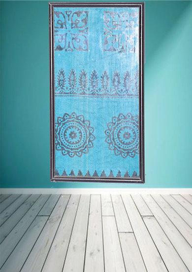 Black & Blue Block print Fabric design wall Hanging frames