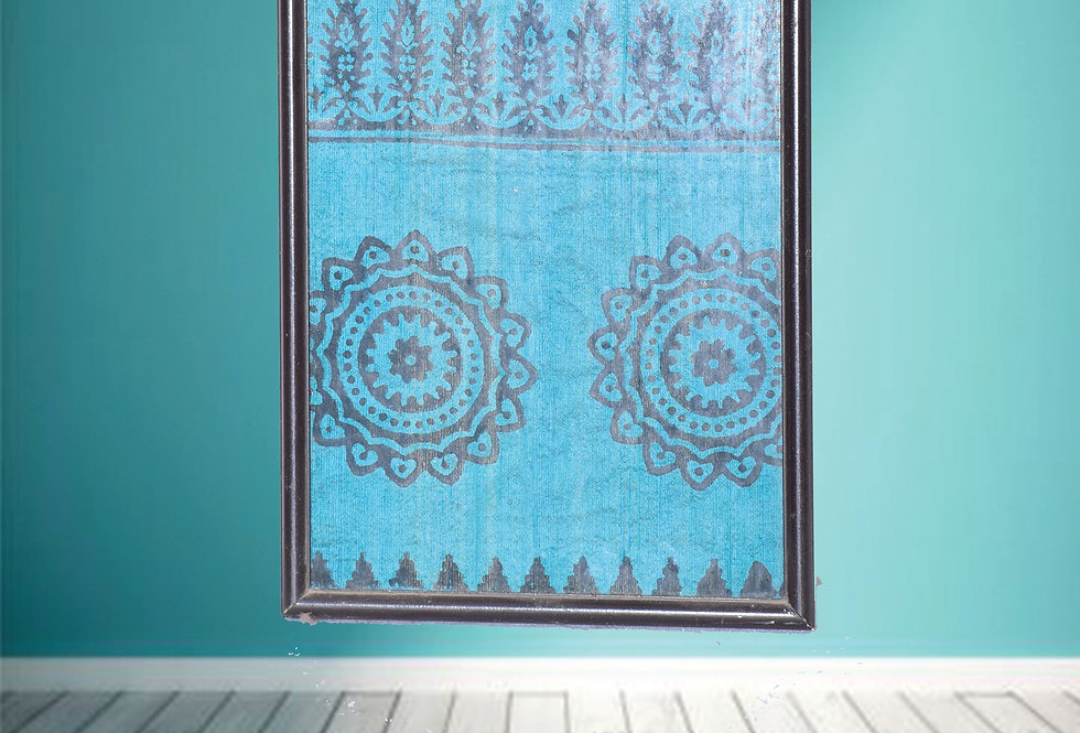 Black & Blue Block print Fabric design wall Hanging frames