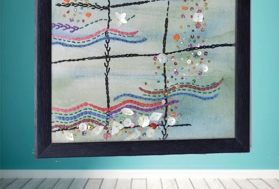 Wall Hanging Frame with Fabric threadwork Designs online