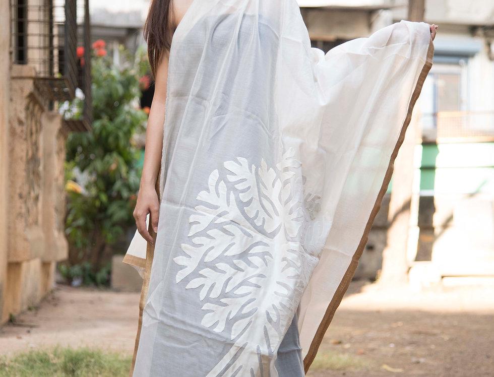 White Patch Work Design Chanderi Dupatta