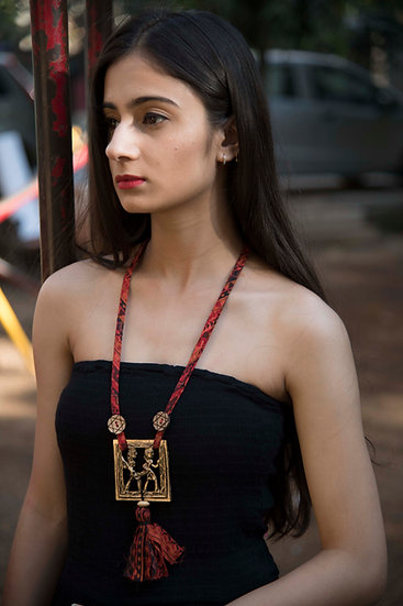 Women's Brass Charm Design Ram Leela Style Neckpiece