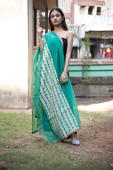 Green Color Chanderi Style Cotton Dupatta