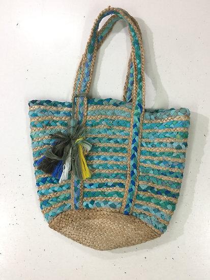 Blue Color Jute Handbag with Fabric Design