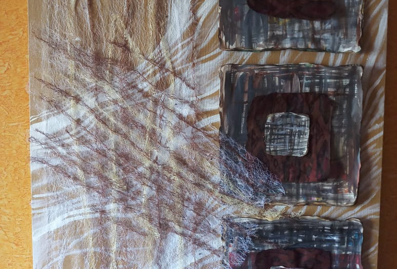 Brown & White Fabric Texture Design Wall Frames