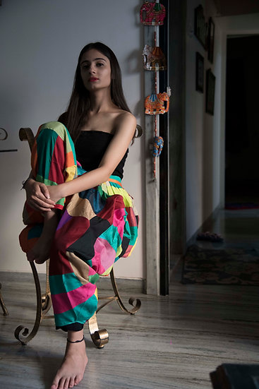 Women's Multi Color Dhoti Pants with Patch Work Design