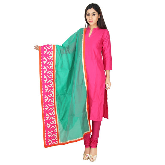 Rama Green Chanderi embroidered Dupatta with border patchwork designs.