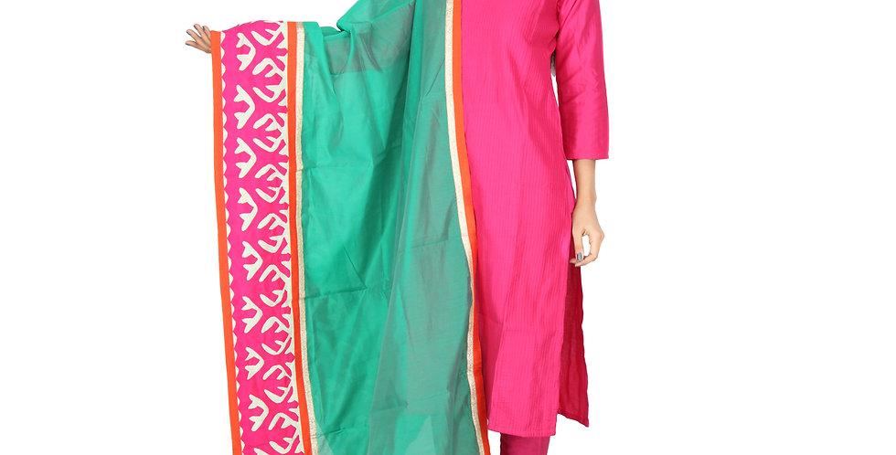Rama Green Chanderi embroidered Dupatta with border patchwork designs.