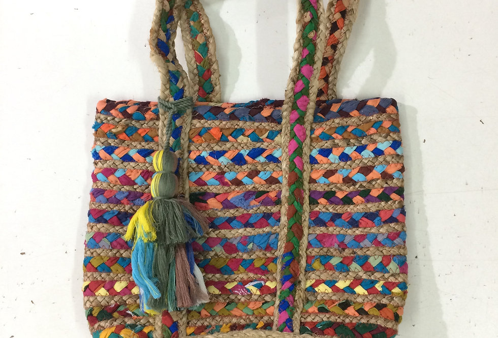 Multi color Jute Bag with Fabric Tassels for Women
