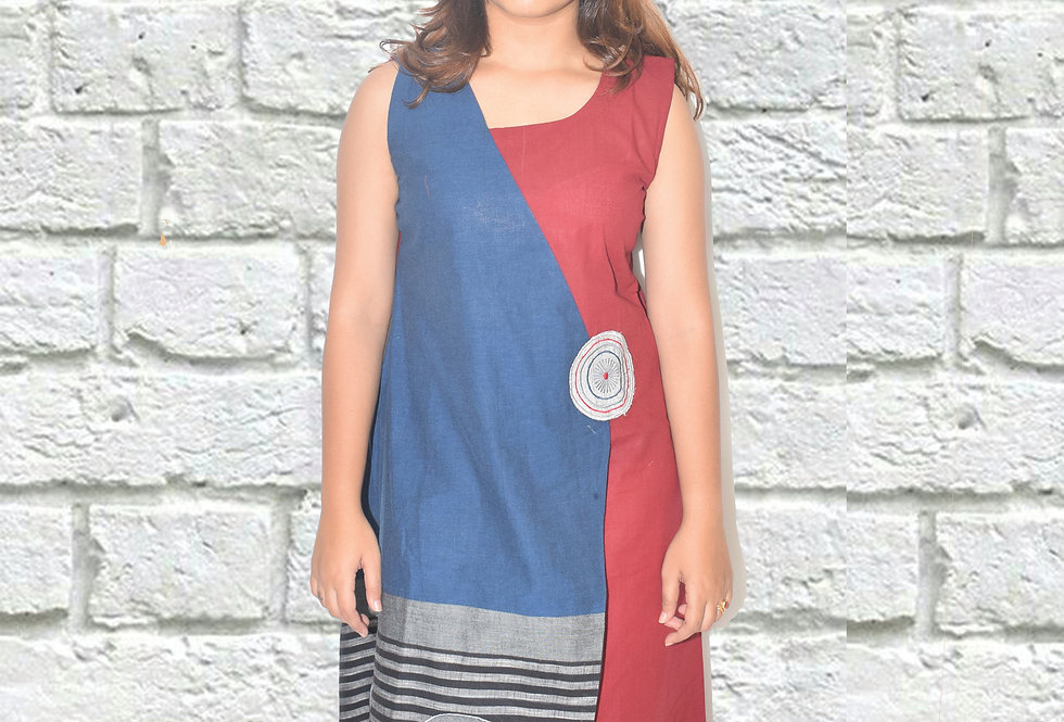 Red & Blue Overlap Sleeveless Dress for Women