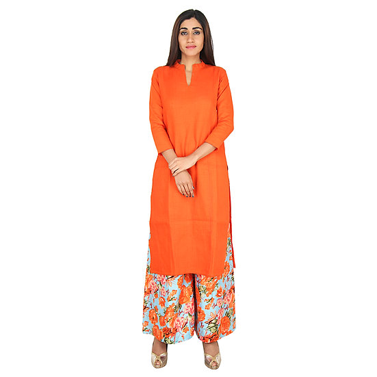 Women's Full Orange Long Kurti Mandarin Collar