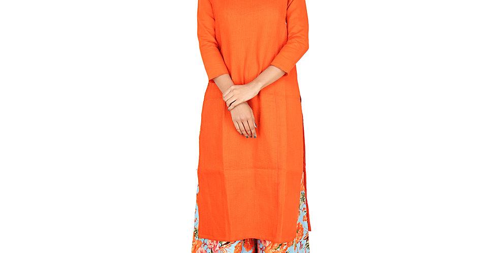 Women's Full Orange Long Kurti Mandarin Collar