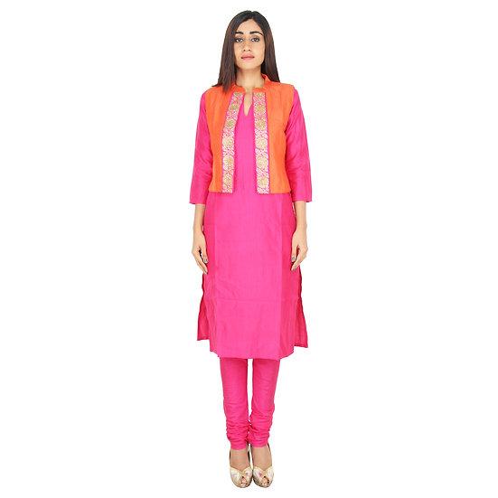 Women Ethnic Orange Short Jacket