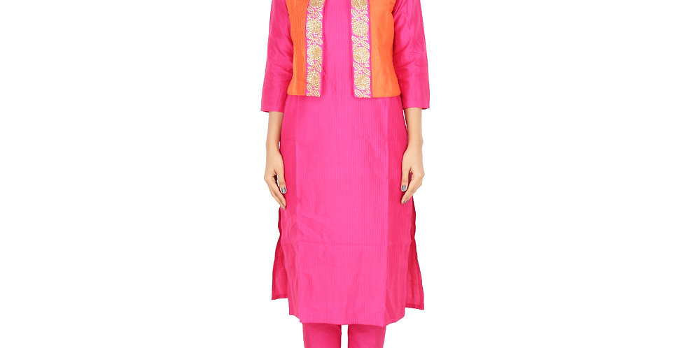 Women Ethnic Orange Short Jacket