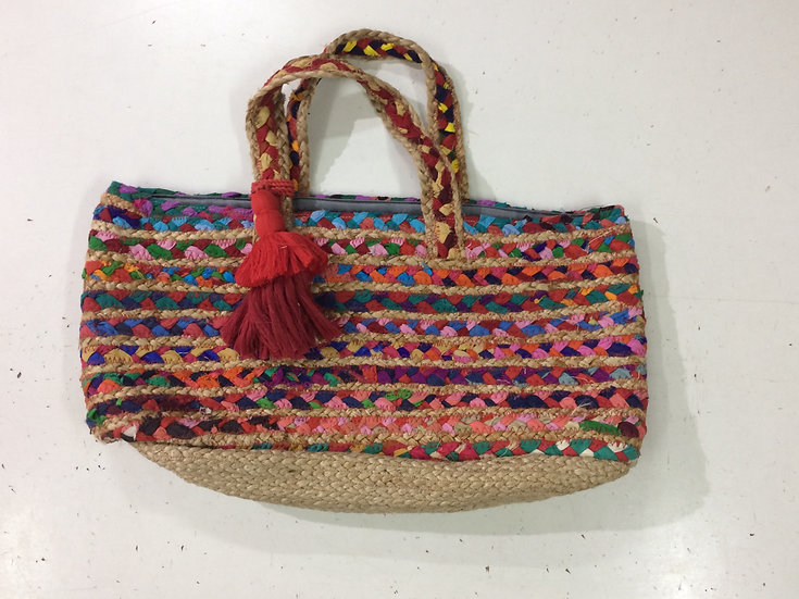 Vacay Jute Bag with Fabric Work & Red Tassels
