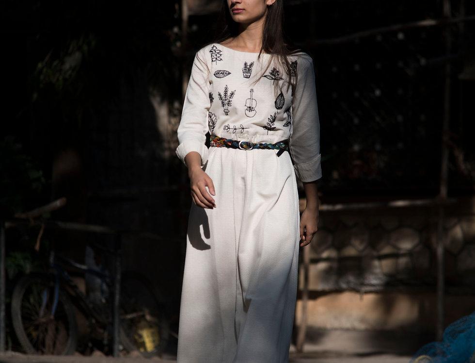 White Empire Line Ankle Length Dress for Women