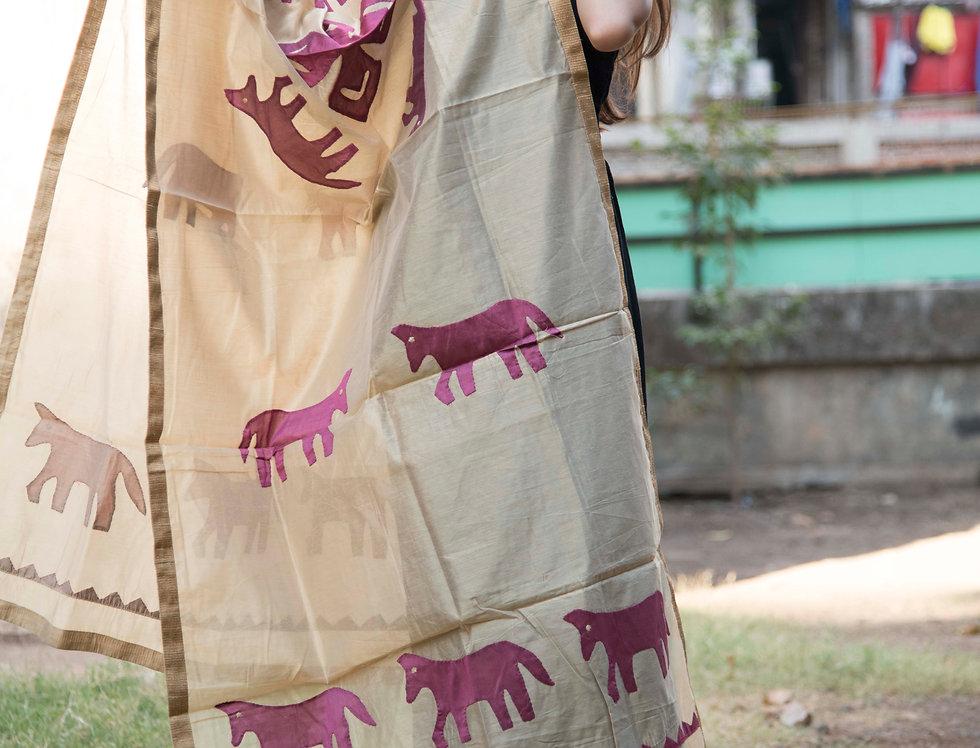 Biege embroidered Chanderi Dupattas for women